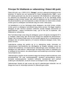 Principer för tillsättande av Valberedning i Dialect AB