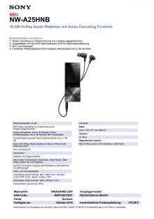 Datenblatt NW-A25HN von Sony_schwarz
