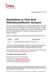 Återkallelse av Felix Små delikatessköttbullar