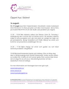 Program: pressresa öppet hus i Skåne!