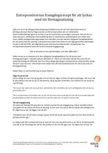 Sammanfattande rapport om alumners recept på framgång