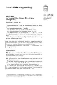Förordning om ändring i förordningen (2016:836) om elbusspremie: SFS 2017:1341