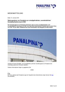 Stellungnahme von Panalpina zur unaufgeforderten, unverbindlichen Kontaktaufnahme durch DSV