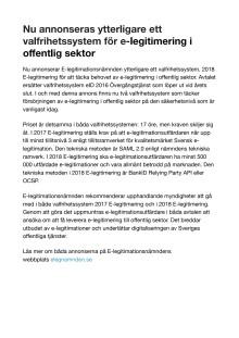 Nu annonseras ytterligare ett valfrihetssystem för e-legitimering i offentlig sektor