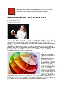 Månadens innovatör i april, Nicoline Kinch