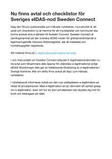 Nu finns avtal och checklistor för Sveriges eIDAS-nod Sweden Connect