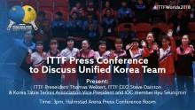 Presskonferens ITTF angående förenat Korea på bordtennis-VM