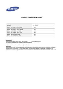 Galaxy Tab 4- Priser SE