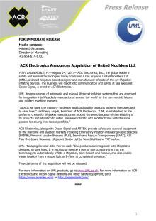ACR Electronics Announces Acquisition of United Moulders Ltd.