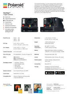 Polaroid Originals OneStep+, data sheet