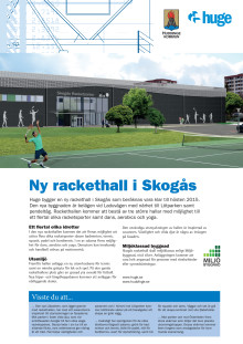Infoblad om Skogås racketcenter