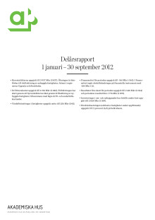Delårsrapport 1 januari – 30 september 2012