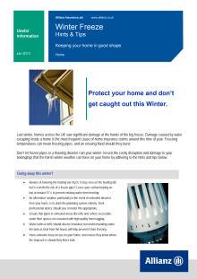 Allianz Winter Freeze Advice for Householders