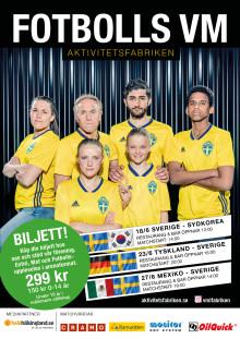 Köp biljett till Aktivitetsfabrikens gymma arrangemang under Fotbolls VM, men köp via HuFF så går 40 kr per biljett till närodlad fotboll!