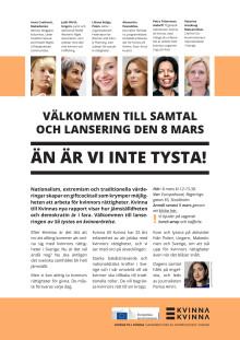 """Inbjudan rapportlansering """"Så tystas en kvinnorörelse"""" 8 mars"""