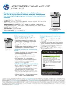 HP LaserJet Enterprise 500 MFP 525 dataark