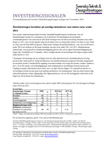 Pressmeddelande Investeringssignalen, november 2010