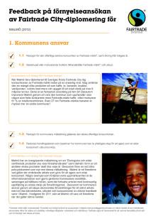 Feedback på förnyelseansökan av Fairtrade City-diplomering för Malmö