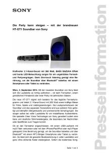 """Pressemitteilung """"Die Party kann steigen – mit der brandneuen HT-GT1 Soundbar von Sony"""""""