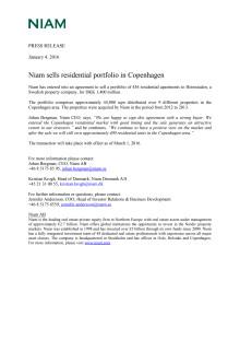 Niam sells residential portfolio in Copenhagen