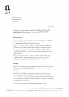 Remissvar på Nationell handlingsplan för säker användning och hantering av nanomaterial, SOU 2013:70