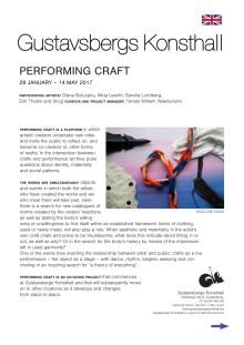 Pressmeddelande Performing Craft, engelska