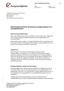 Sektorsbeskrivning för riksintresse energiproduktion och energidistribution