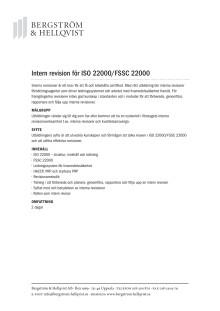 Intern revision för ISO 22000/FSSC 22000