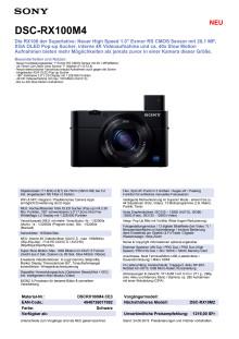 Datenblatt DSC-RX100M4 von Sony