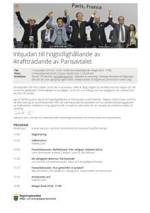 Inbjudan högtidlighållande Parisavtalet 7 november