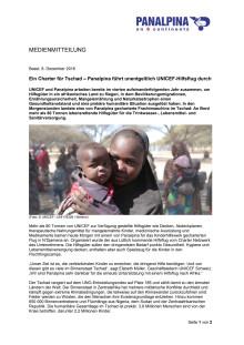 Ein Charter für Tschad – Panalpina führt unentgeltlich UNICEF-Hilfsflug durch