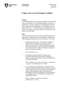 Frågor och svar för pressträff 170510 Samspel i trafiken