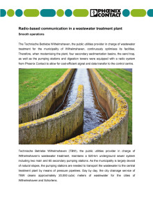 Radio-based communication in a wastewater treatment plant