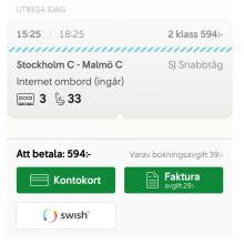 Populärt att betala tågbiljetten med Swish