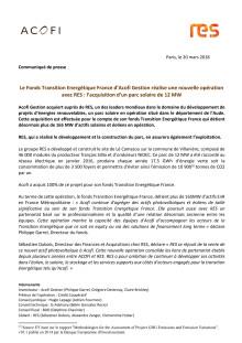 Le Fonds Transition Energétique France d'Acofi Gestion réalise une nouvelle opération avec RES : l'acquisition d'un parc solaire de 12 MW