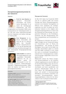 Energiemanagementsysteme in der Industrie, Evaluation 2015
