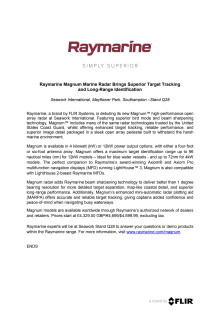 Raymarine: Raymarine Magnum Marine Radar Brings Superior Target Tracking and Long-Range Identification