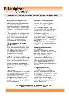 Inställning till studieförbund och folkbildning 2009