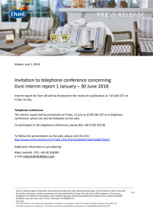 Invitation to telephone conference concerning  Duni interim report 1 January – 30 June 2018