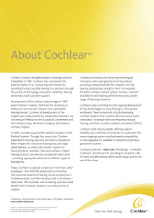 Företagsinformation Cochlear Bone Anchored Solutions AB