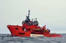 """Esvagt Contender"" and ""Esvagt Observer"" in rescue activity in the North Sea."