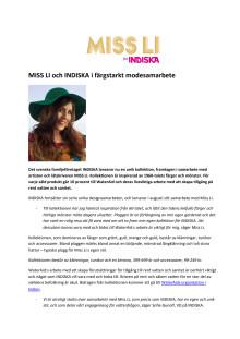 MISS LI för INDISKA - pressmeddelande