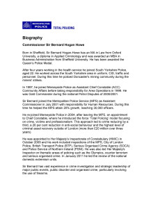 Biography - Commissioner Sir Bernard Hogan Howe