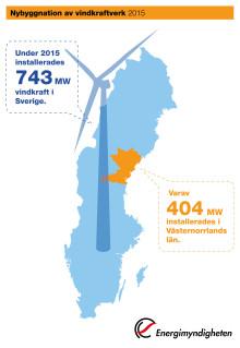 Stor vindkraftsutbyggnad i Västernorrlands län under 2015