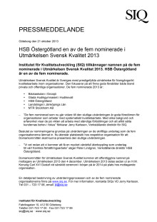 HSB Östergötland en av de fem nominerade i Utmärkelsen Svensk Kvalitet 2013