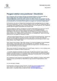 Peugeot stärker sina positioner i Stockholm