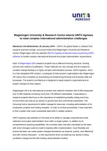 Wageningen UR chooses UNIT4 Agresso_Press release