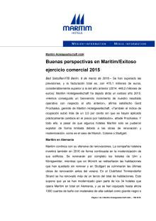 09.03.2016 - Buenas perspectivas en Maritim/Exitoso ejercicio comercial 2015