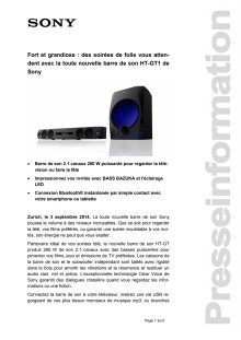 Communication de presse_Soundbar HT-GT1_F-CH_140903