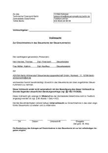 ADVISA - Vollmacht Steuerkonto online (Berlin)